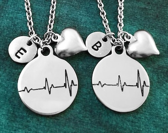 7adeb4a5c497 Heartbeat Necklace SET of 2 Charm Necklaces Heart Necklace Best Friend  Necklace Love Jewelry Friendship Necklace Heart Necklace Pendant Gift