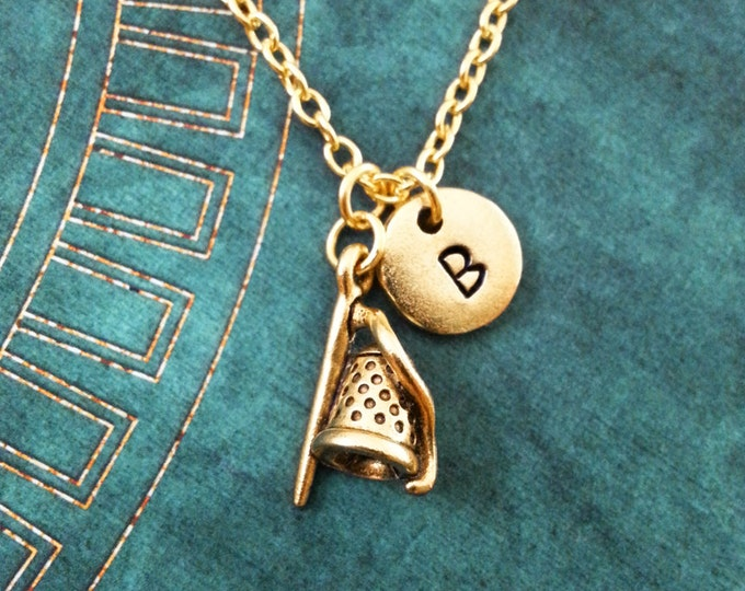 Thimble Necklace SMALL Sewing Necklace Sewing Gift Gold Necklace Personalized Jewelry Needle Necklace Thread Necklace Mother/'s Day Necklace