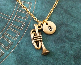 Trumpet Necklace, SMALL Gold Instrument Necklace, Personalized Jewelry, Band Gift Musician Gift, Jazz Necklace, Trumpet Jewelry Trumpet Gift