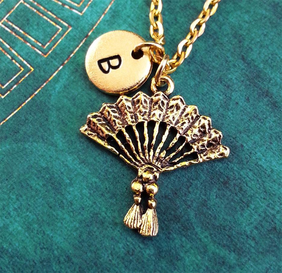 Hand Fan Charm Necklace Hand Fan Pendant Custom Necklace Japanese Jewelry Personalized Necklace Hand Fan Necklace Japanophile Gift