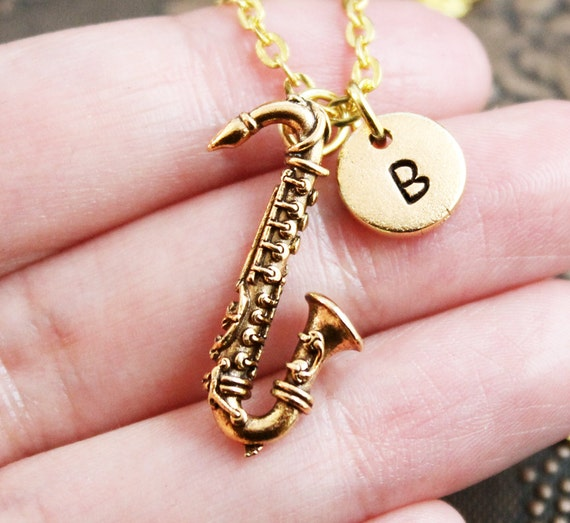 Gold Saxophone Necklace Initial Necklace Sax Necklace Jazz  5aba500103a4