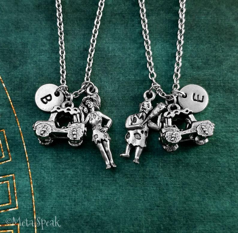 Cavewoman Necklace SET of 2 Charm Necklaces Cave Woman Necklace Caveman Necklace Couples Jewelry Couples Necklace Wife Necklace Car Pendant