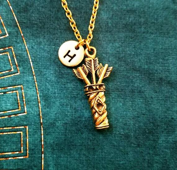 Collar de arco y flecha Tiro con Arco Colgante Collar de Madera Joyería Artemis Archer