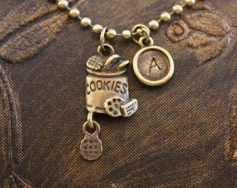 Cookie Necklace Initial Necklace Cookie Jar Necklace Chocolate Chip Necklace Personalise Necklace Engraved Necklace Hand Stamped Necklace
