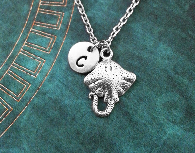 personalized necklace sea animal Stingray necklace stingray initial charm stingray charm ocean necklace initial necklace monogram