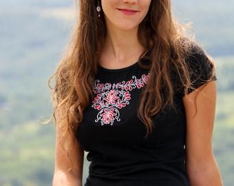 Embroidered Transylvanian (székely) shirt- black/red