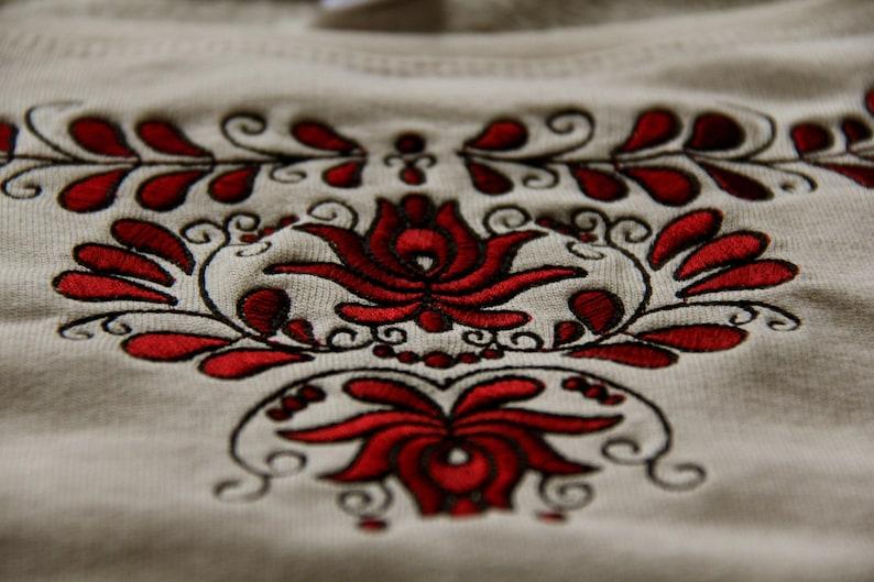 Beige embroidered Transylvanian sz\u00e9kely sweater-beigered