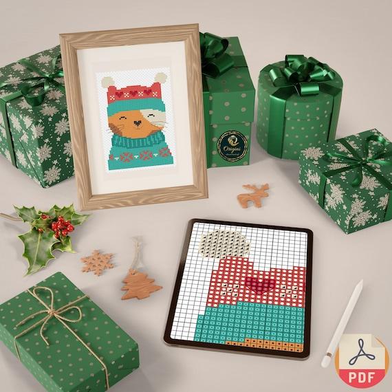 Christmas Cat / Cross Stitch DIGITAL Pattern PDF / Cross Stitch Card Designs / Origini Brand