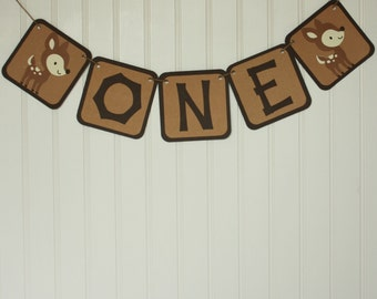Woodland First Birthday - Deer Birthday Party - Woodland Banner - Woodland Themed One Banner - Woodland Party - Deer One Banner