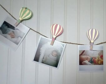 Hot Air Balloon, Pastel and Gold First Birthday, Hot Air Balloon First Birthday Party, First Birthday Monthly Photo Banner, N-12 Pictures
