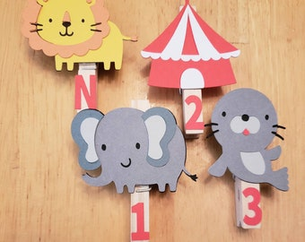 Circus First Birthday Party, Circus Party Monthly Photo Banner, Circus Decorations, Animal Monthly Pins, First Year Pictures