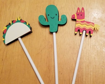 Fiesta Birthday Party, Uno Birthday, Taco Birthday Party, Fiesta CupcakeTopper, Taco Cupcake Toppers, Pinata Party, Pinata Fiesta