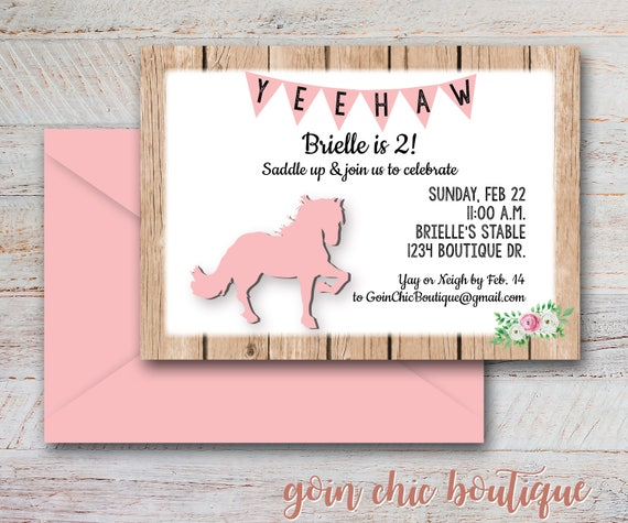 Pink Horse Birthday Party Invitations