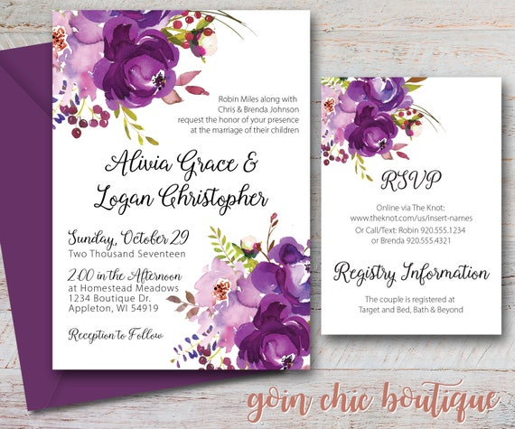 Purple Floral Wedding Invitation Watercolor Wedding Invitation Watercolor Flowers Digital Invitation Printable Wedding Invitation