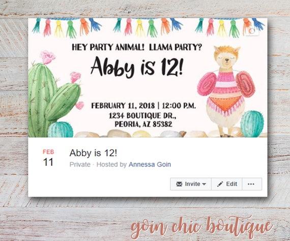 Llama Birthday Party Facebook Cover Image Girl Llama Party Etsy