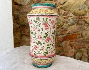 Albarello antique shape Vase  H 27 cm • Ancient Swirls decor • Handmade in Montelupo, Italy