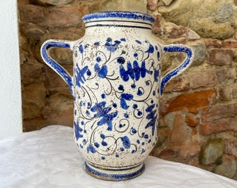 Albarello Vase  H 26 cm • Craqueled Zaffera • Handmade in Montelupo, Italy
