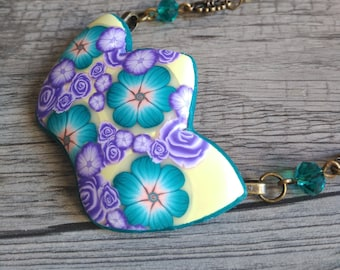 Lotus flowers millefiori pendant- floral party Hanging- Yellow necklace with green and lilac flowers- Polymer clay handmade lotus necklace-