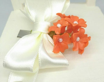 Flower girl ornament with shell effect and color tie, flower girls accessories, flower girl hair clip for party, bridal hair accessories.