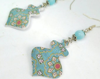 Mediterranean style earrings with geometric design and Arabic mosaic, Polymer clay earrings, clay jewelry of unique designs, gifts earrings