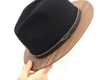 Wood Brim Fedora- Black and Walnut 373070c3b435