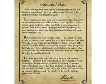 picture regarding Gettysburg Address Printable named Gettysburg deal with Etsy