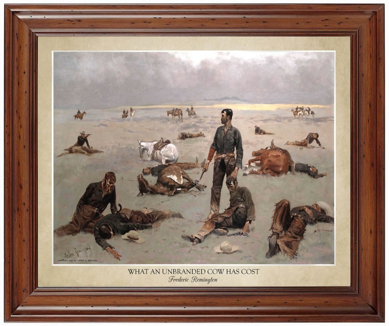 What An Unbranded Cow Has Cost by Frederic Remington 1895 | Etsy