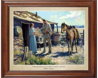 The Buffalo Hunter Comes Callin' by WHD (William) Koerner (1929); 16x20 print displaying the artist's name and title of painting