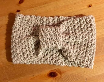 Gray crochet headband