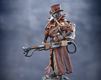 Plague Doctor 54mm figurine Steampunk Plague Doctor Model Painted 54mm Toy Soldier Bird Mask Doctor Model Figurine Middle Ages Model