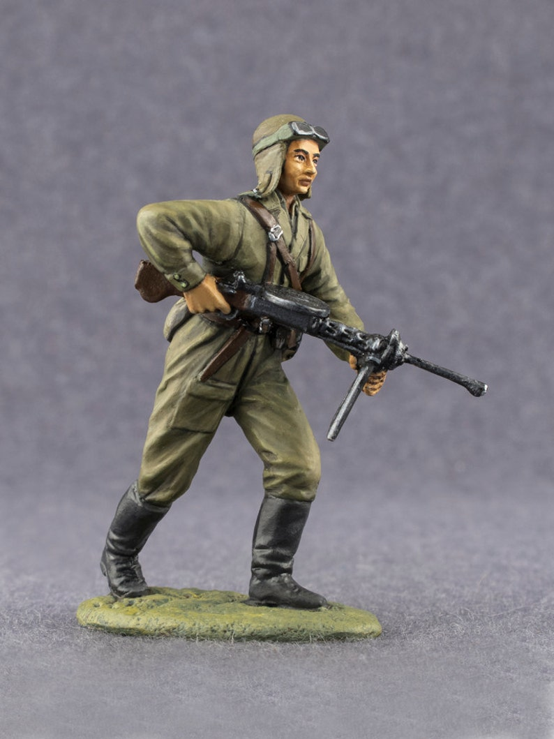 WW2 Toy Soldiers USSR Paratrooper Soldier 1/32 Scale World War 2 Historical  Toy Soldier 54mm Metal Miniature Painted Figurine Model