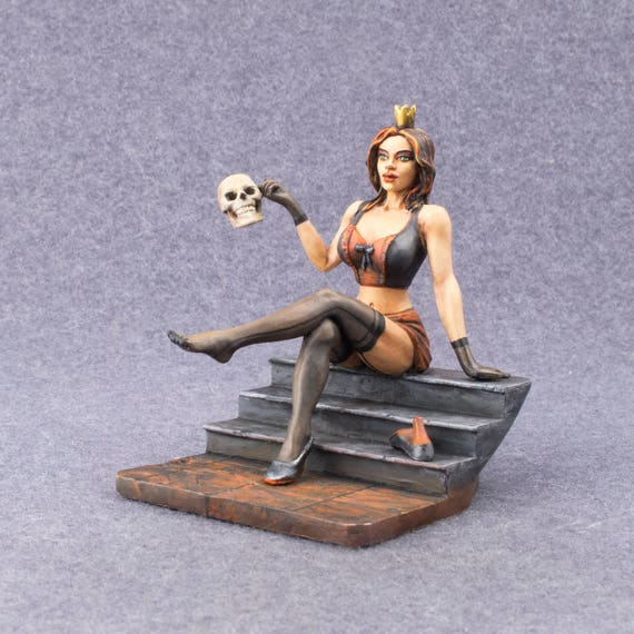 Witch Girl 1/24 Scale Painted 75mm Tin High Quality Metal Girl Miniature  Gift for Man Home Decor Sculpture Metal Lady Statue