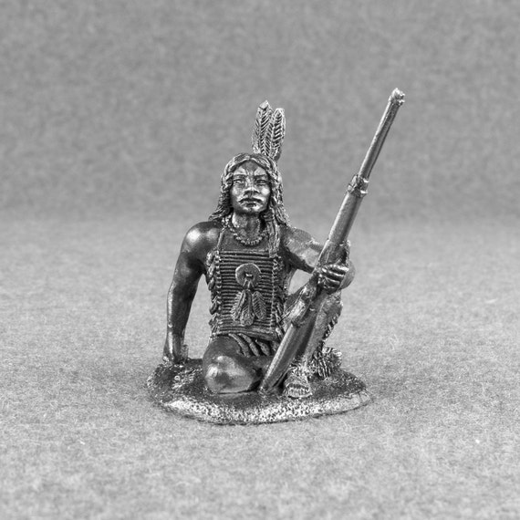 Dollhouse Miniature Unfinished Metal Indian Chief figurine doll