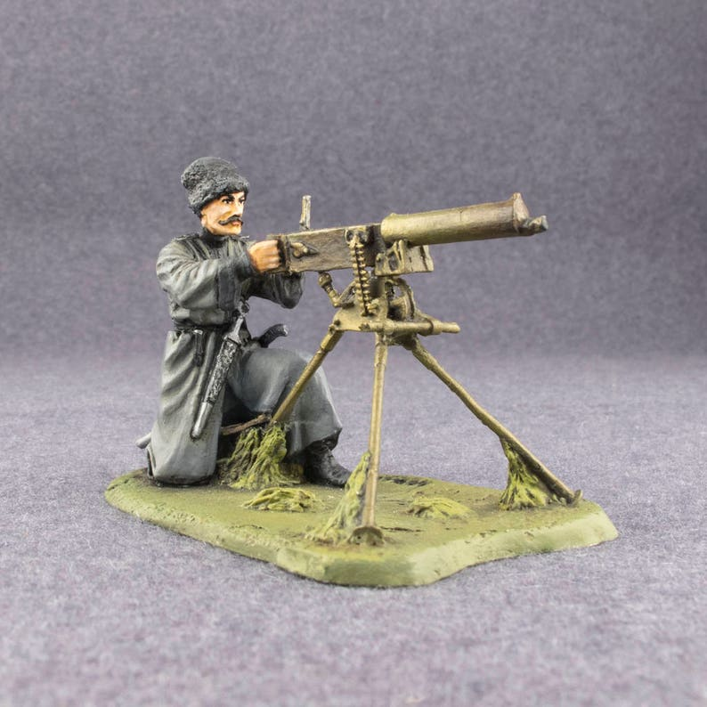 Toy Soldiers Machine Gunner 1/32 Scale Pewter Metal Miniature 54mm