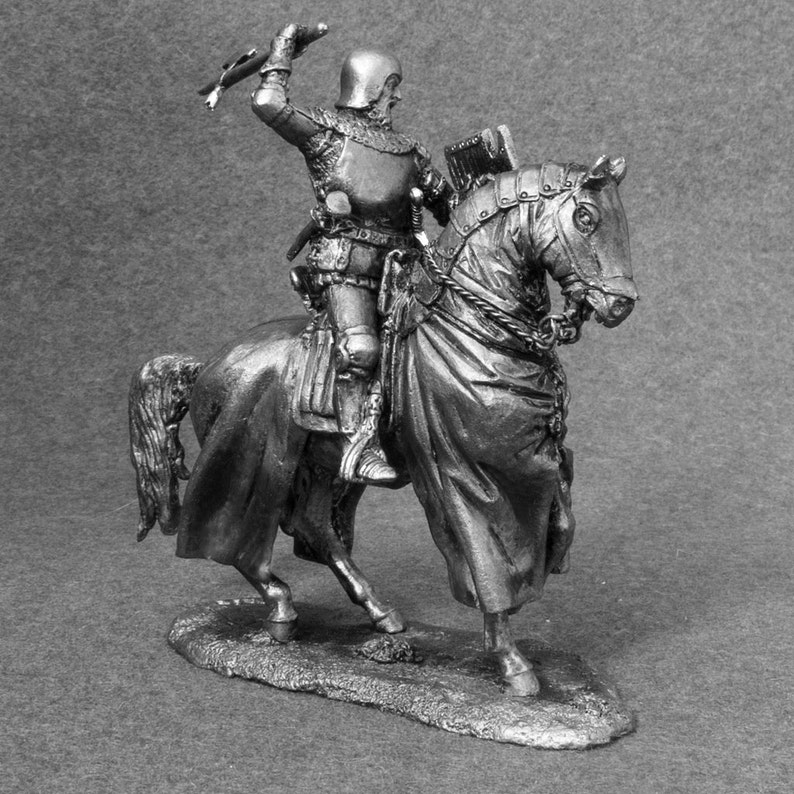 Knight Soldier Toys with Axe Cavalry Mounted Medieval 132 Scale Toy Soldier 54mm Tin Metal Miniature Unpainted Action Figurine