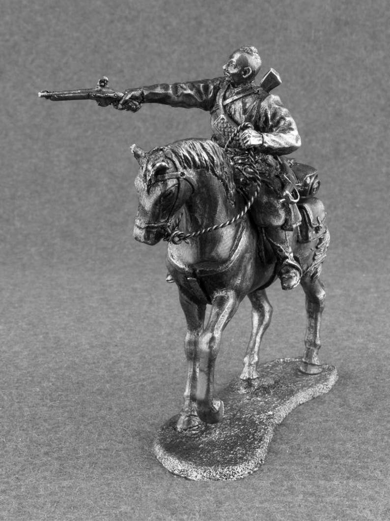 Metal Toy Soldiers Painted Mounted Cossack 1//32 scale Rider on Horse Miniature