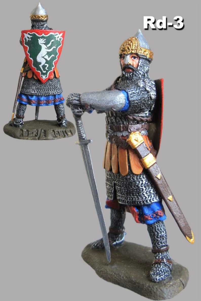 Miniature Action Toy Medieval 1//32 Russian Knight Tin Metal Figure Soldiers 54mm