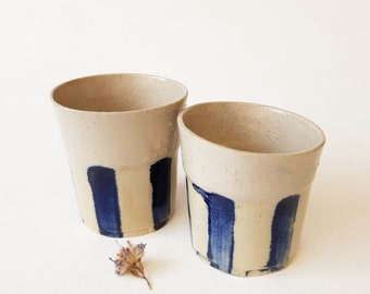 Shot glasses, Modern Pottery Gift, Espresso Cup Set, Contemporary Handmade Pottery, Ceramic Glasses Set of 2