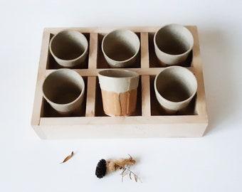 Ceramic Glasses Set of 6 + Wood Tray, Shot glasses, Modern Pottery Gift, Espresso Tumbler Set, Contemporary Handmade Pottery, Wedding Gift