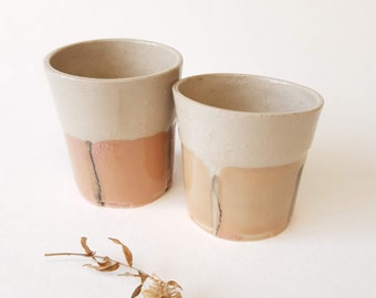 Pink Ceramic Glasses Set of 2, Shot glasses, Modern Pottery Gift, Espresso Tumbler Set, Contemporary Handmade Pottery