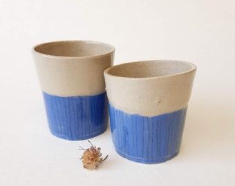 Ceramic Glasses Set of 2, Shot glasses, Modern Pottery Gift, Espresso Tumbler Set, Contemporary Handmade Pottery