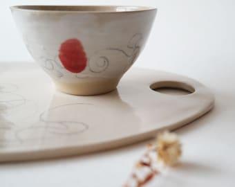 Minimalistic Ceramic Cheese Board, Serving Platter Set, Contemporary Handmade Pottery