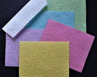 5 Swirl Embossed Note Cards,  Assorted Pastel Colors, Blank Inside, Hand Made, Stationery, All Occasion, Thank You, Hostess Gift