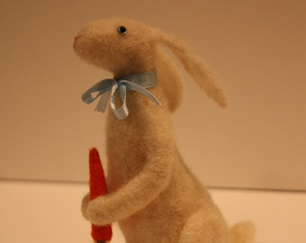 Needle Felted White Rabbit with Ears Back Holding a Carrot