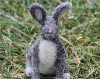 Needle Felted Gray and White Rabbit