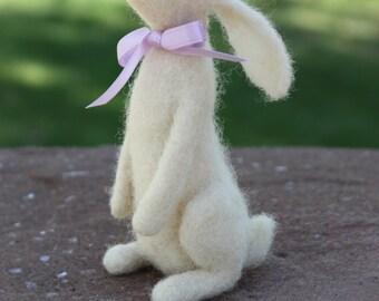 Needle Felted White Rabbit with Ribbon