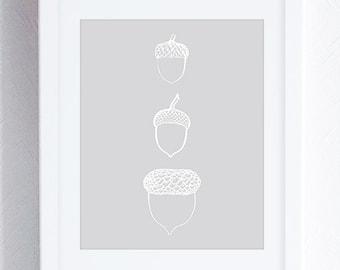 Acorns Art Print, Cabin Decor, Acorns Printable Wall Art, Gray and White Minimal Art, Neutral Decor, Instant Download
