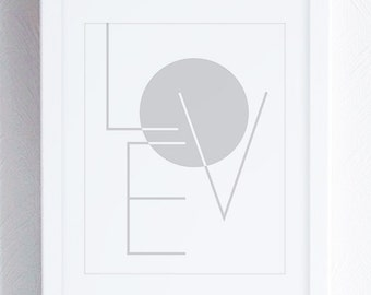 Love Wall Art, Love Typographic Print, Grey and White Art Prints, Geometric Wall Prints, Minimalist Typography Wall Art, Modern Nursery