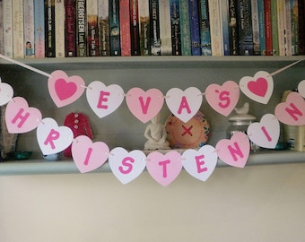 Personalised Christening Bunting Pink, White, Kraft Card Heart Shaped
