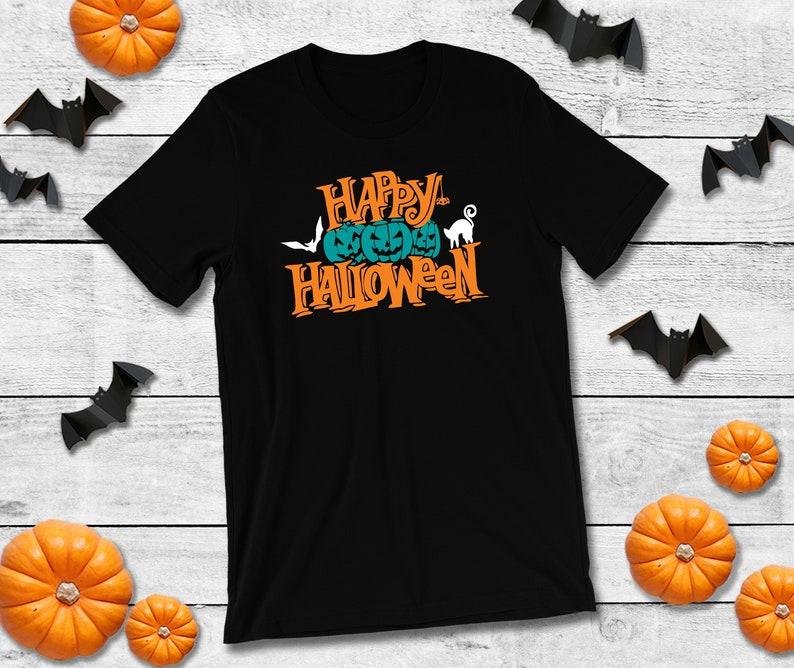 Kids Happy Halloween Shirt w/Teal Pumpkins Black